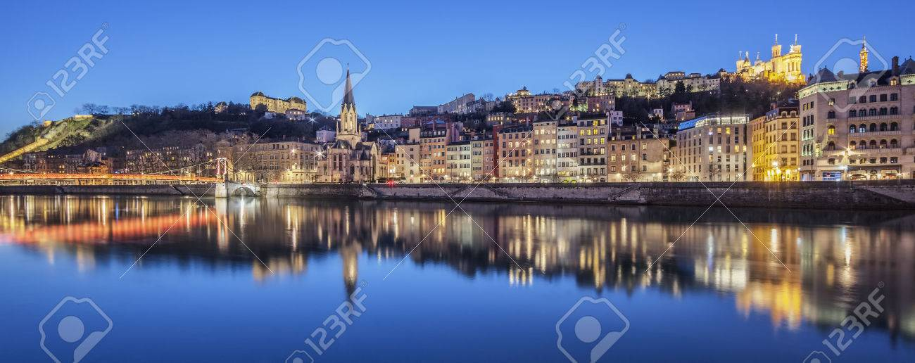 Panoramic view of Lyon with Saone river by night, France. - 38349349