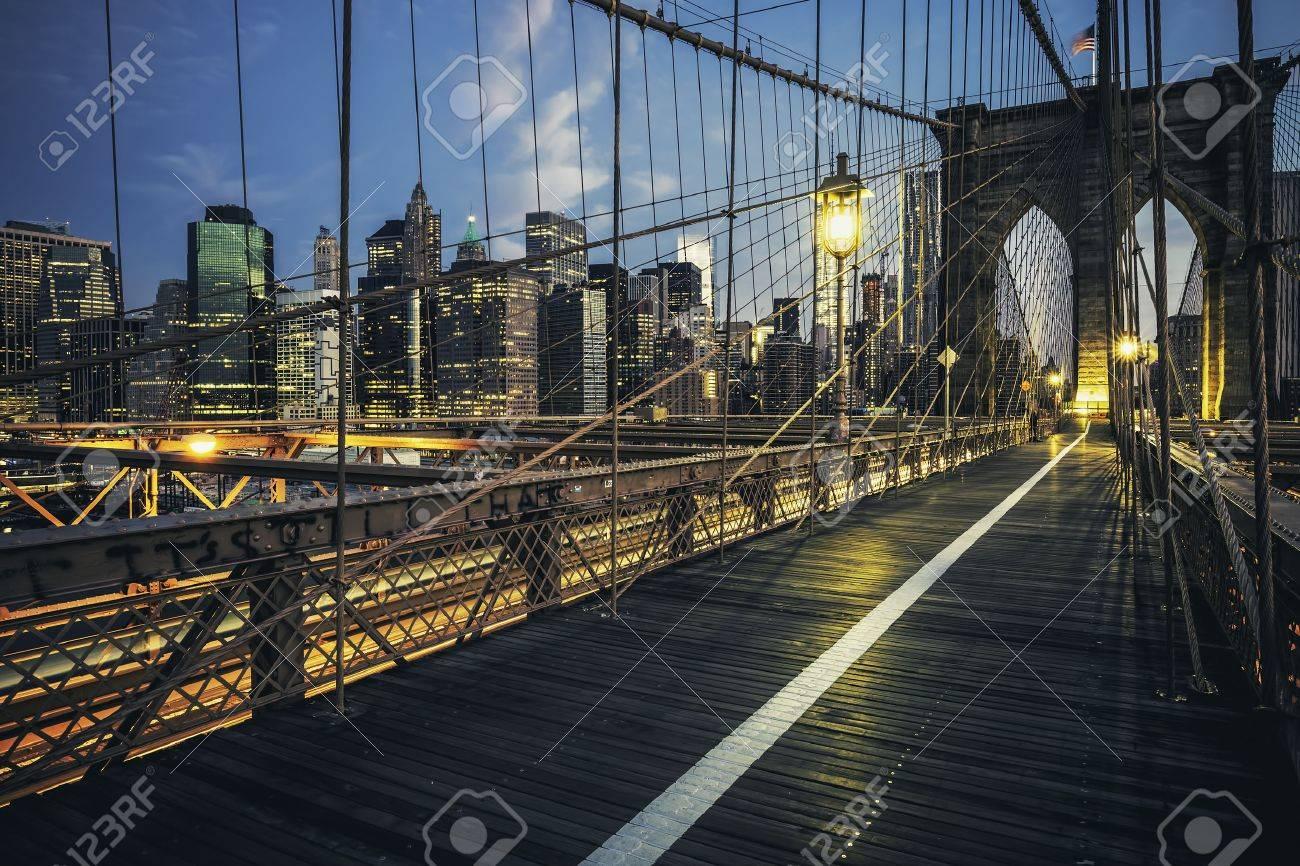Brooklyn Bridge by night, New York, USA. - 48035964