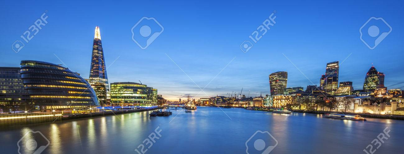 Panoramic view of london skyline from the Tower Bridge. - 48683396
