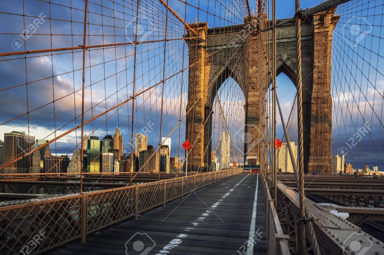 Brooklyn Bridge in the morning light, NYC. - 91996632