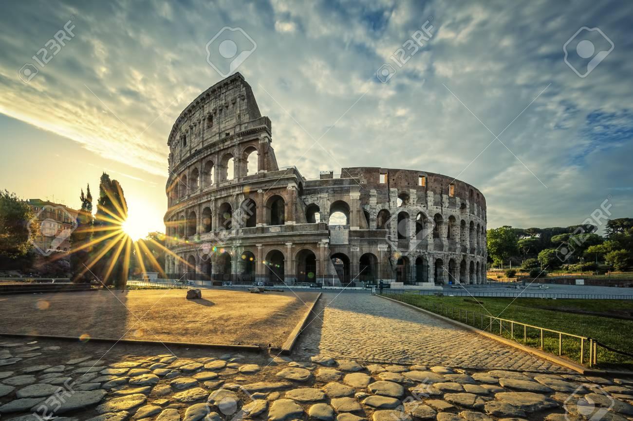 View of Colloseum at sunrise, Italy. - 93715038