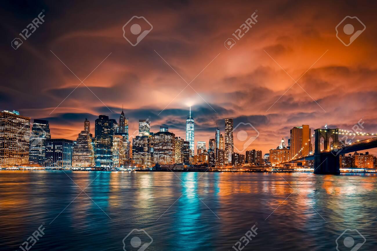 View of Manhattan at sunset, New York City. - 154045263