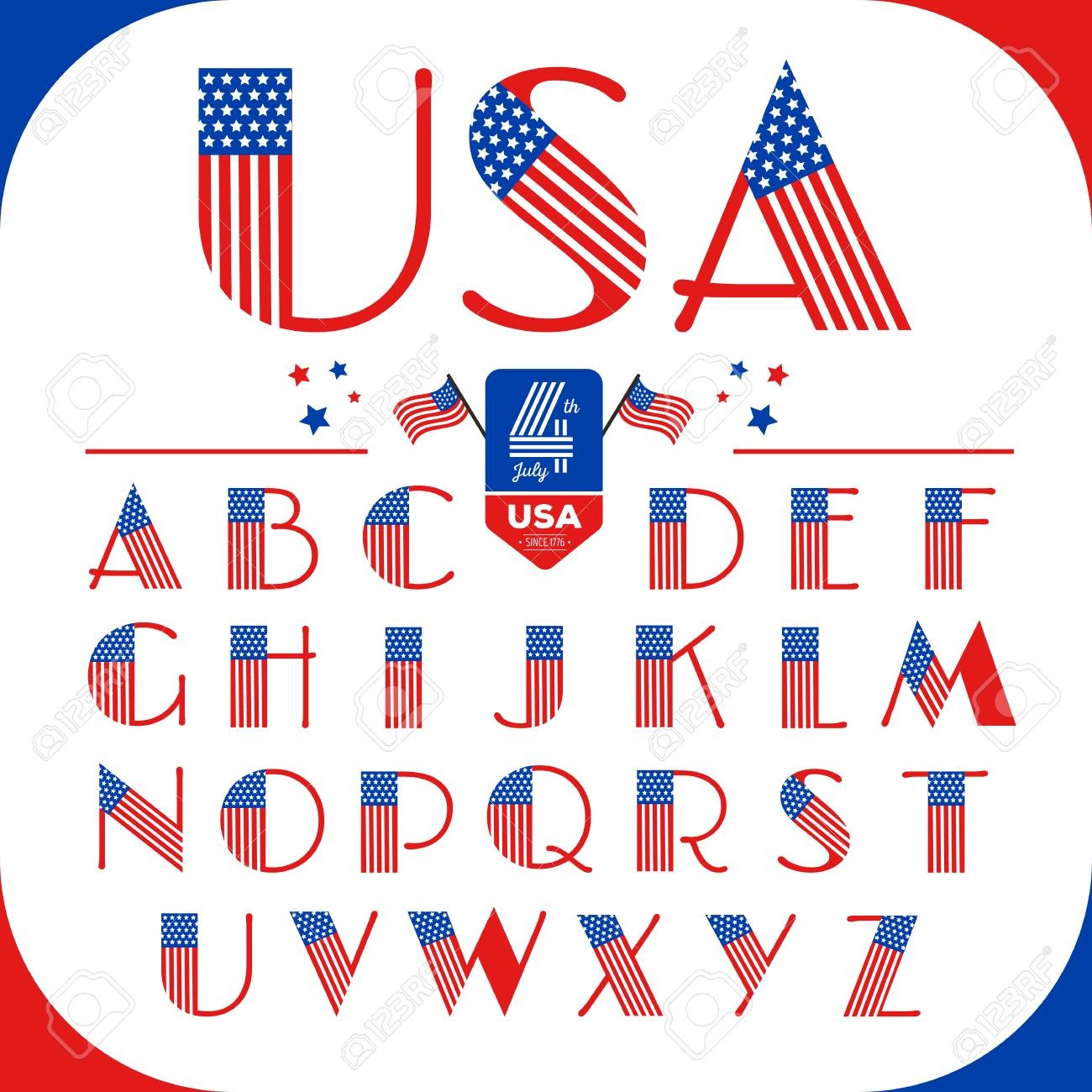 84ba04aaf3f Alphabet letters set in USA style with American flag. Happy 4th of July.  Independence