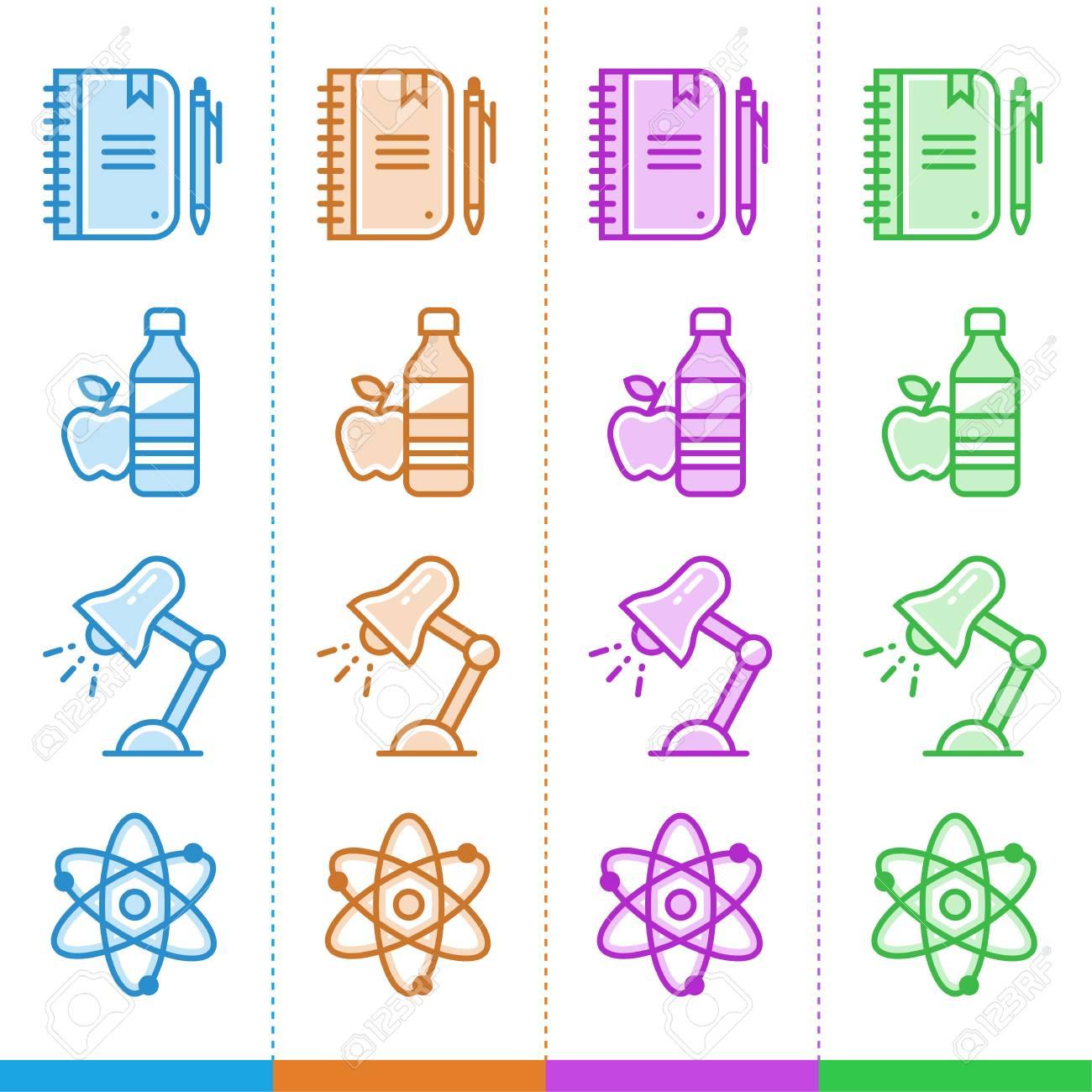 f538753b899cd Foto de archivo - Vector conjunto de iconos lineales para la escuela y la  educación en diferentes colores. Adecuado para sitios web