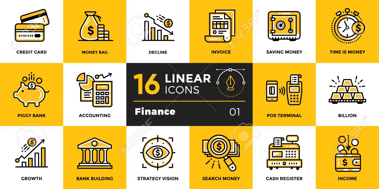 Vector outline icons collection of finance, banking. Modern outline icons for mobile application and web concepts - 82510756