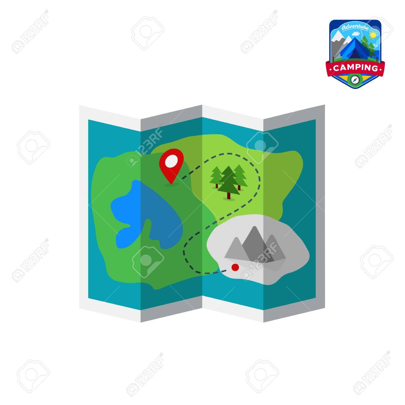 Icono De Mapa De Verano De Camping Turismo De Campamentos Al Aire