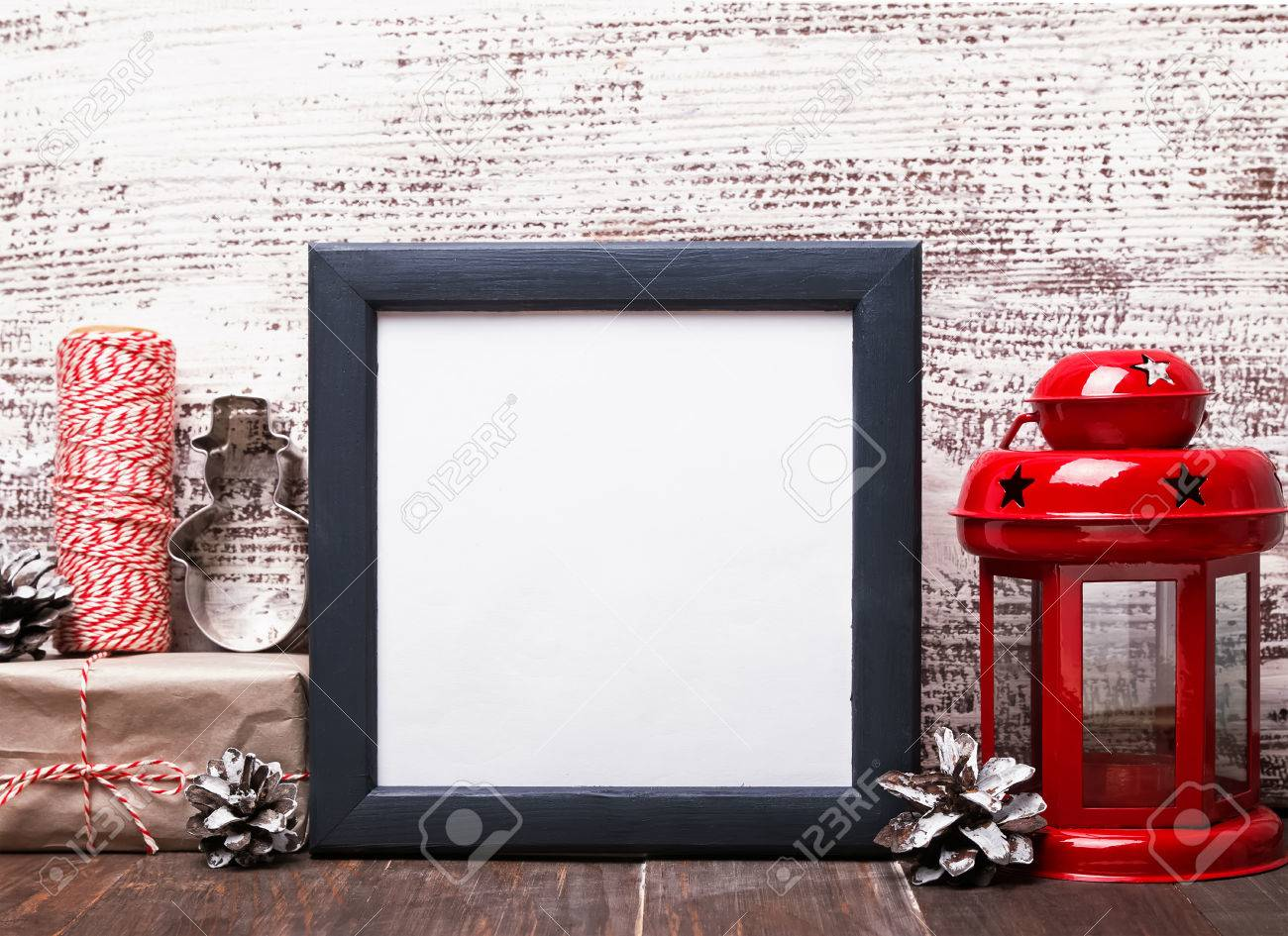 Blank Frame, Craft Style Christmas Decor And Red Lantern On The ...