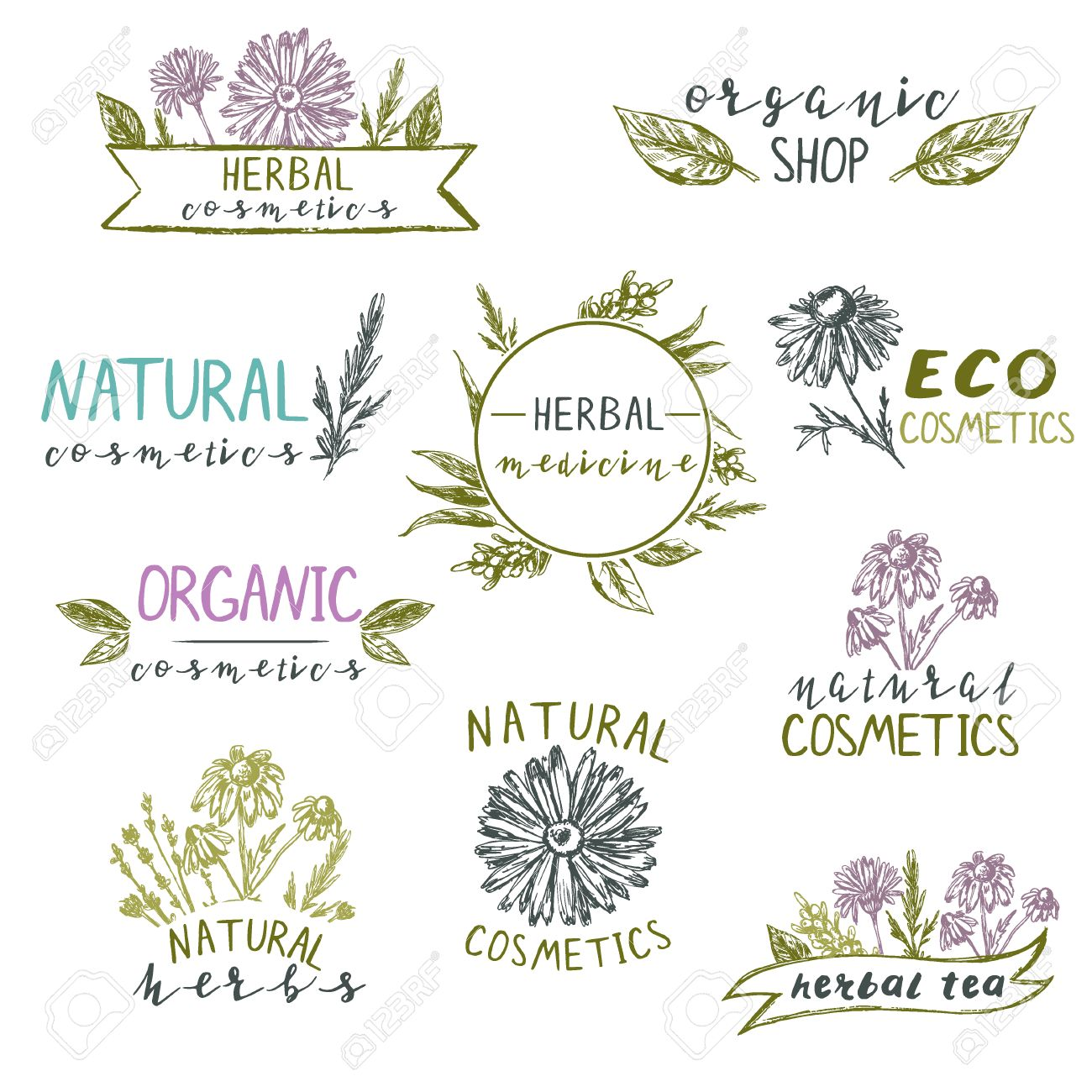 Conjunto De Plantillas De Logotipo Con Plantas Y Flores Dibujadas A ...