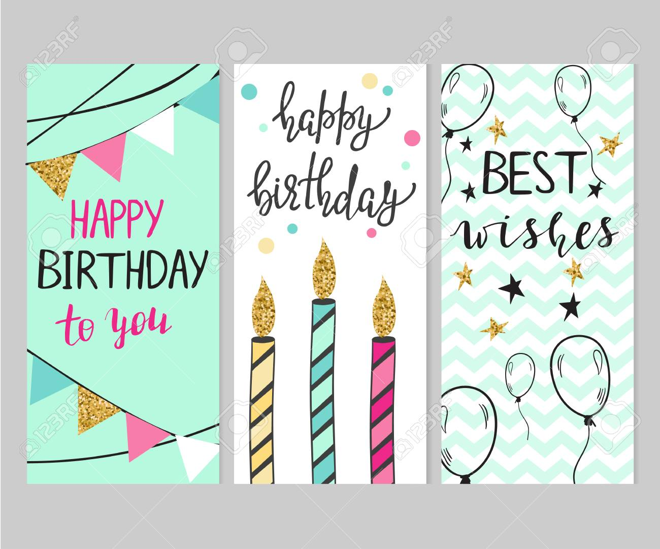 Set Of Bright Birthday Cards With Glitter Elements And Lettering Stock Vector