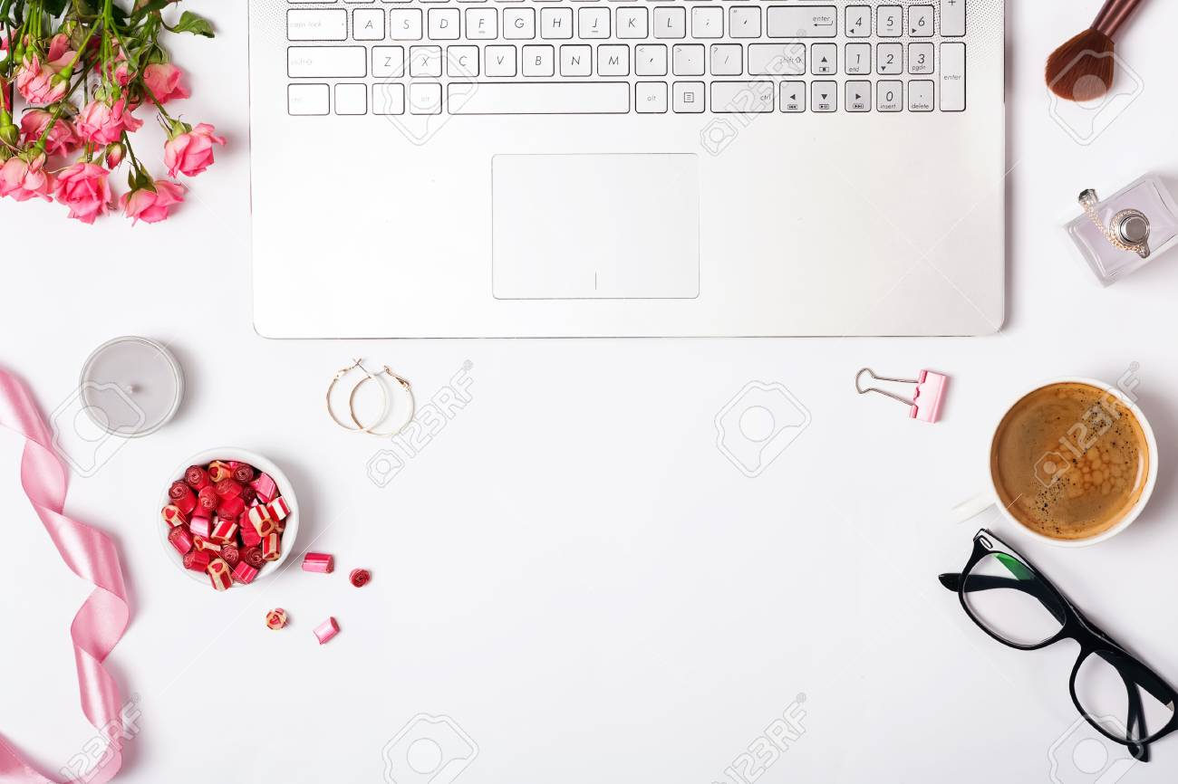 Feminine Workplace Top View Laptop And Cute Small Items In The Stock Photo Picture And Royalty Free Image Image 97647301