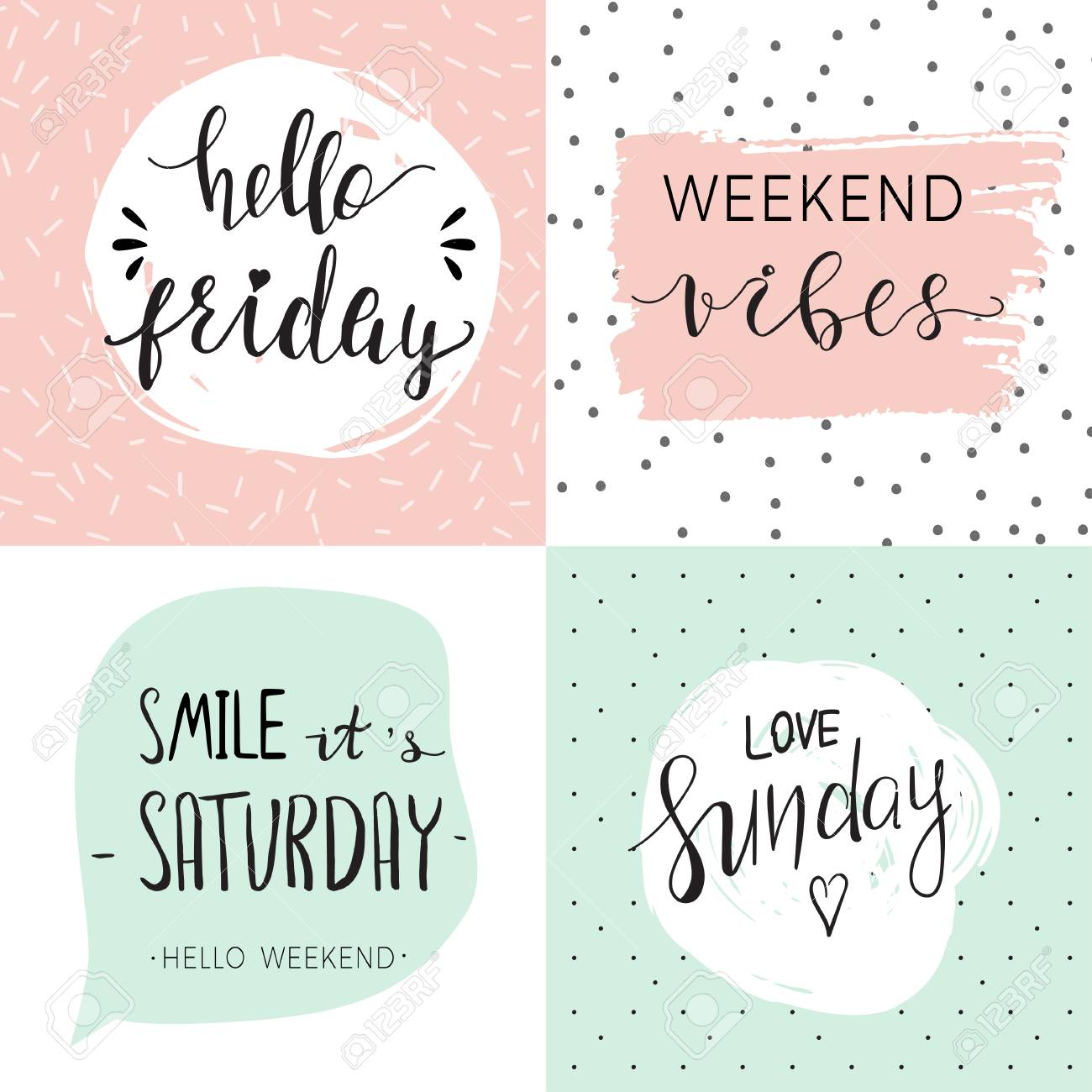 Set of four cute templates with inspirational quotes about weekend