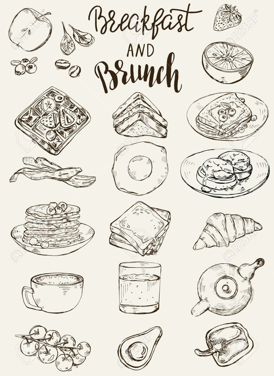 Set of traditional breakfast dishes, bakery and drinks. - 168582987