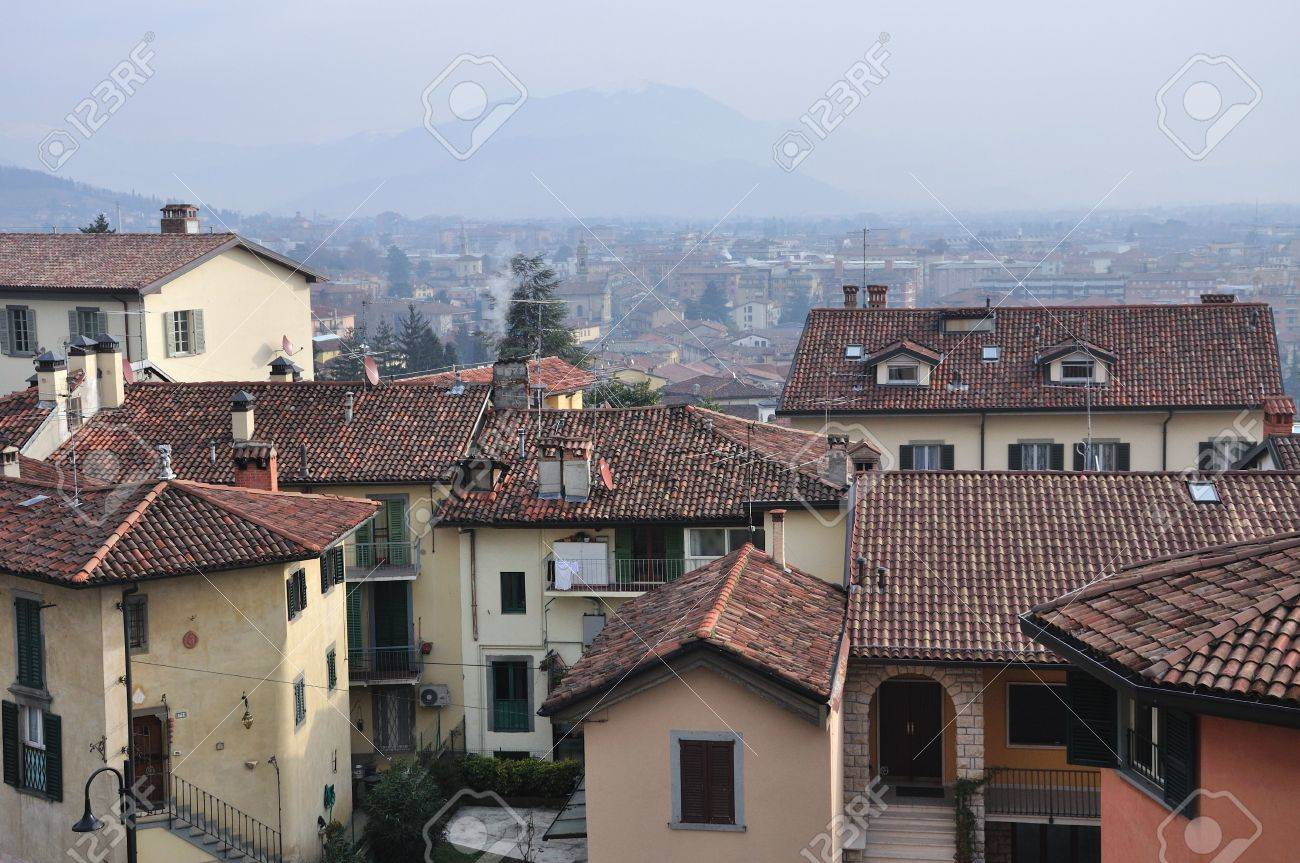 old fashioned houses, in older part of italian bergamo. stock
