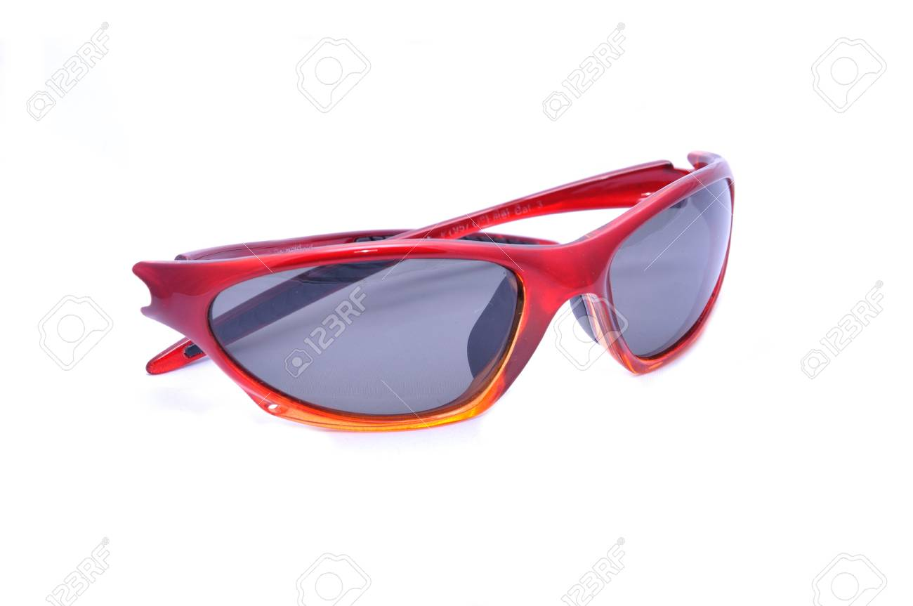 Red sunglasesses for sport activity with polarized lenses, isolated on white. Stock Photo - 7461947
