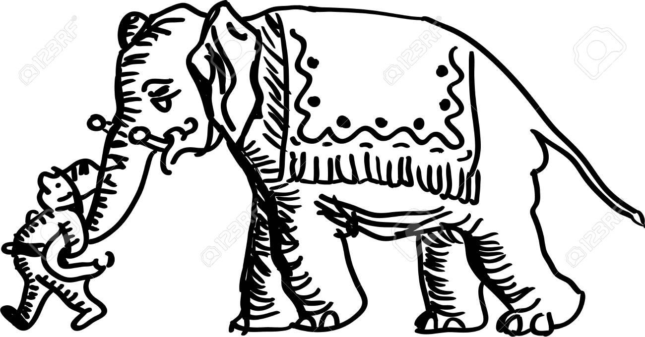 Man leading an elephant Stock Vector - 18441441