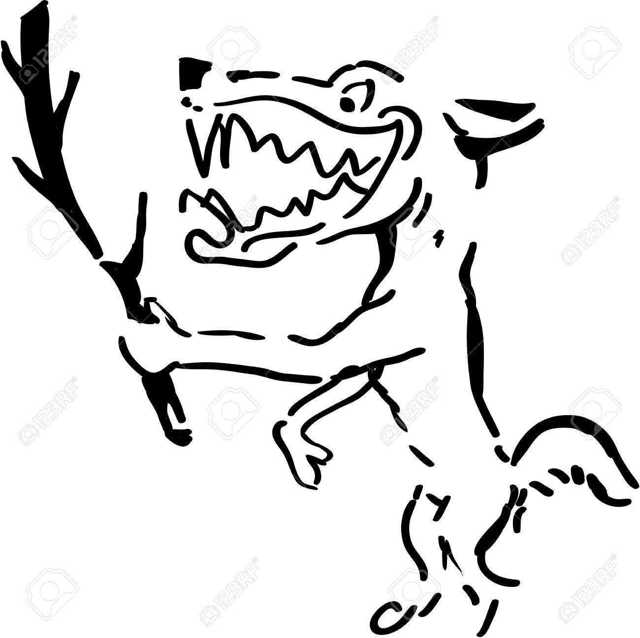 ウルフの枝黒と白のイラストを保持のイラスト素材ベクタ Image