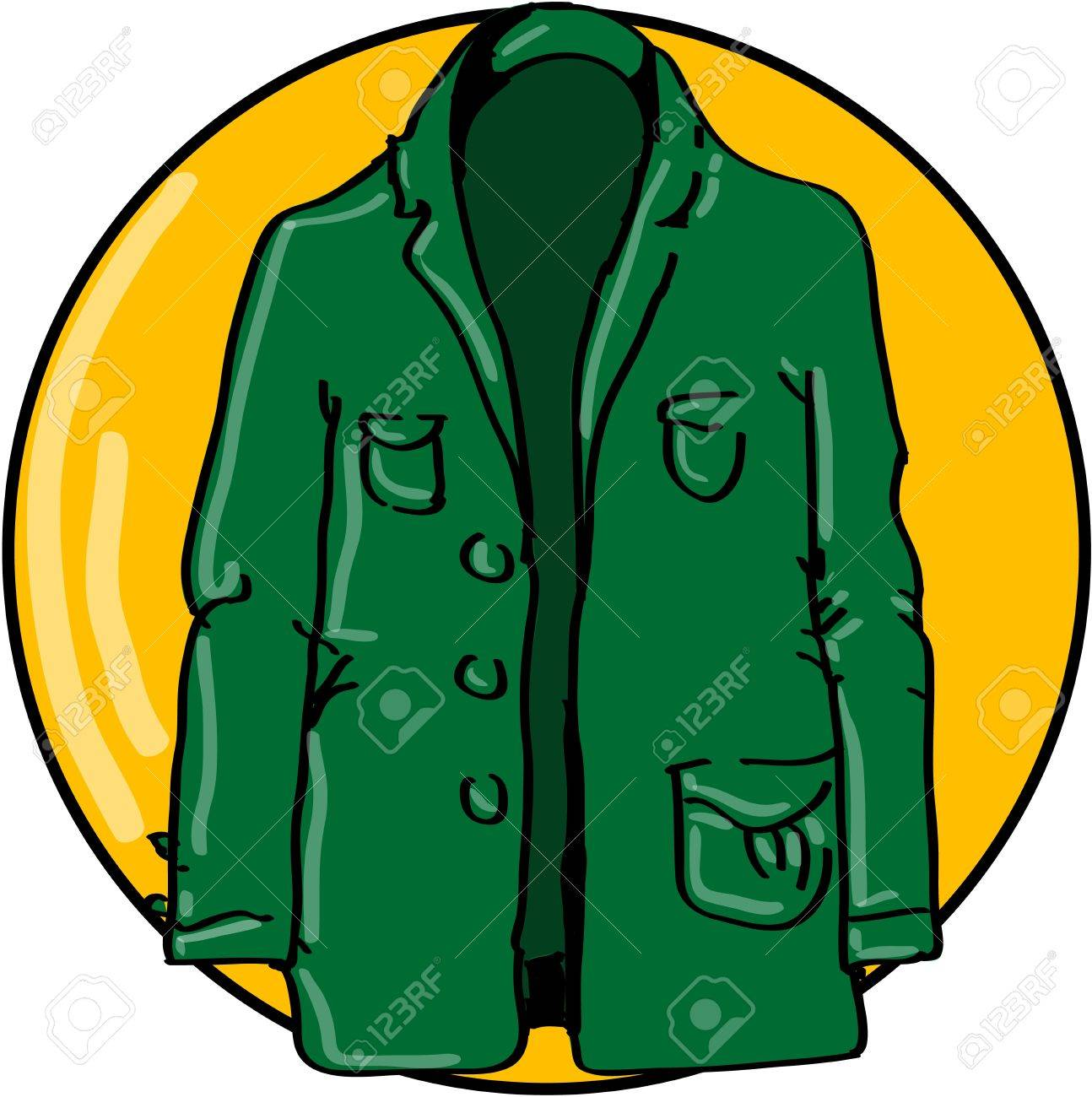 Green jacket on yellow circle Stock Vector - 18732163