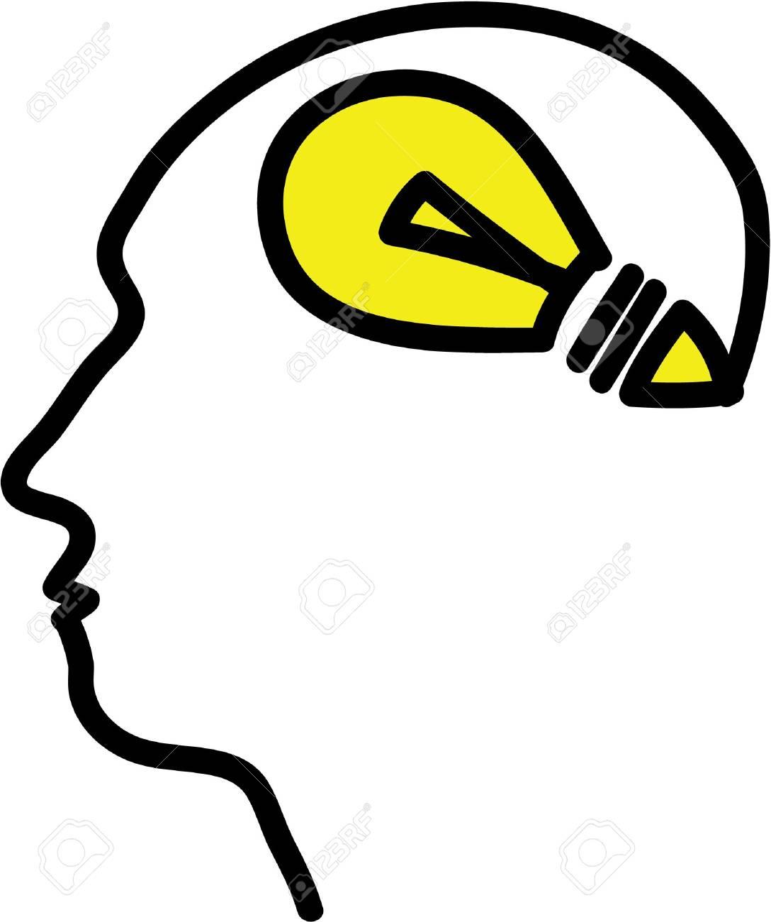 Head with bulb symbol, simple illustration Stock Photo - 20825139