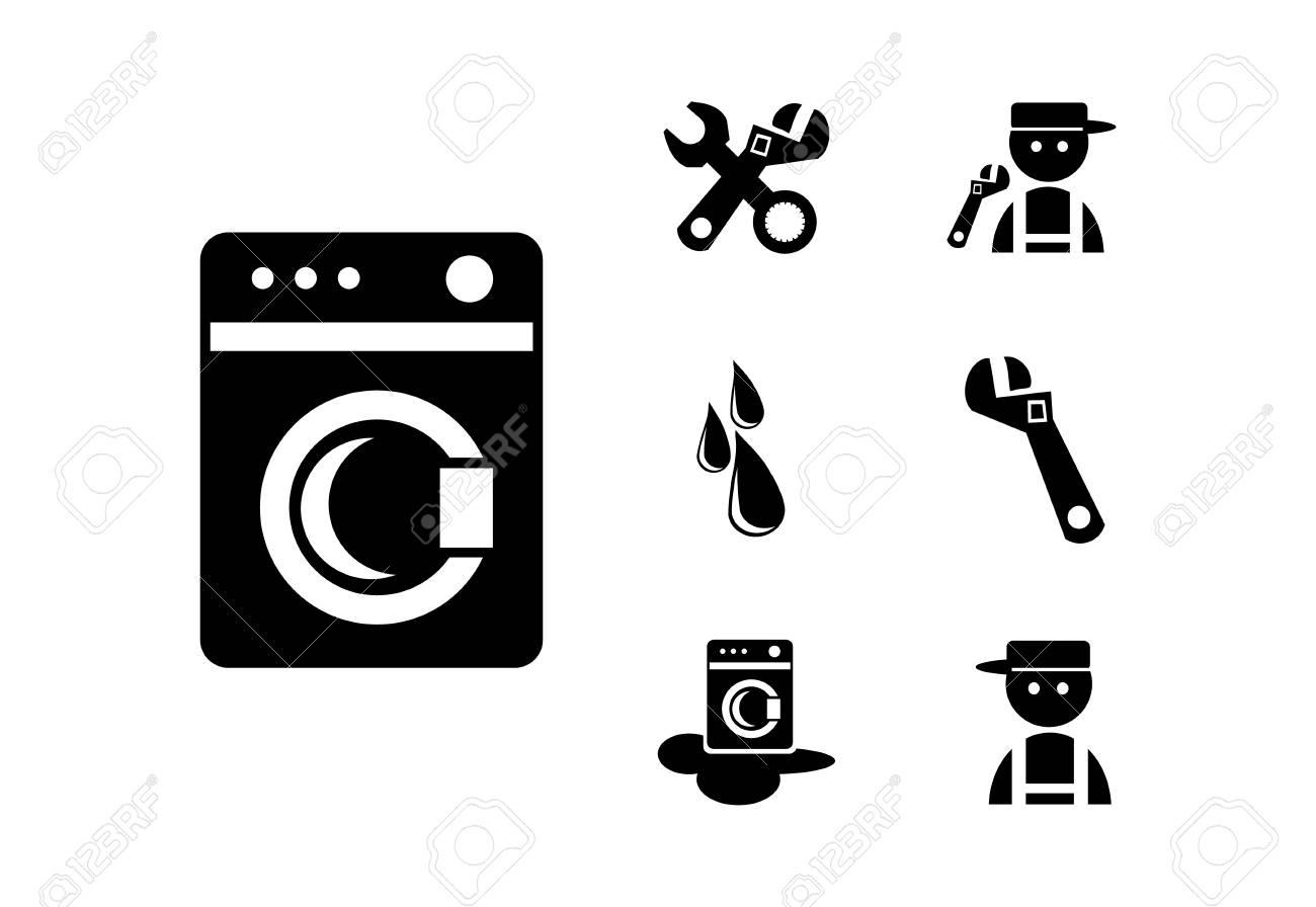 Black Washing machine  Icons Set, illustration Stock Photo - 21158978