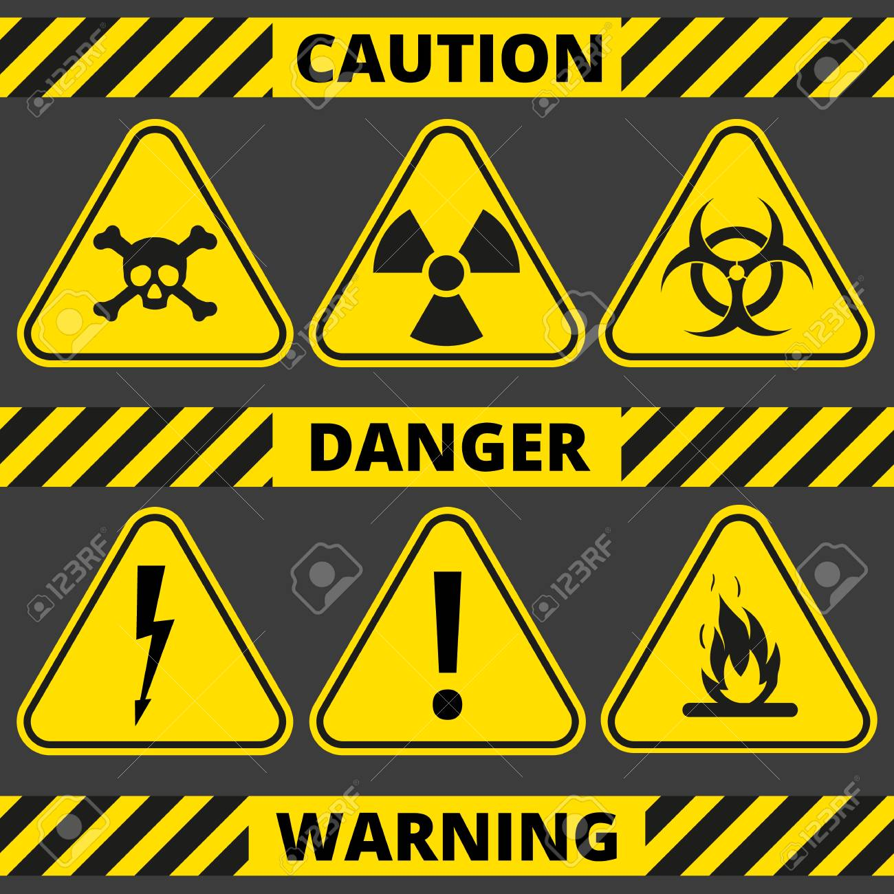 set of signs the radiation toxic poison flammable voltage