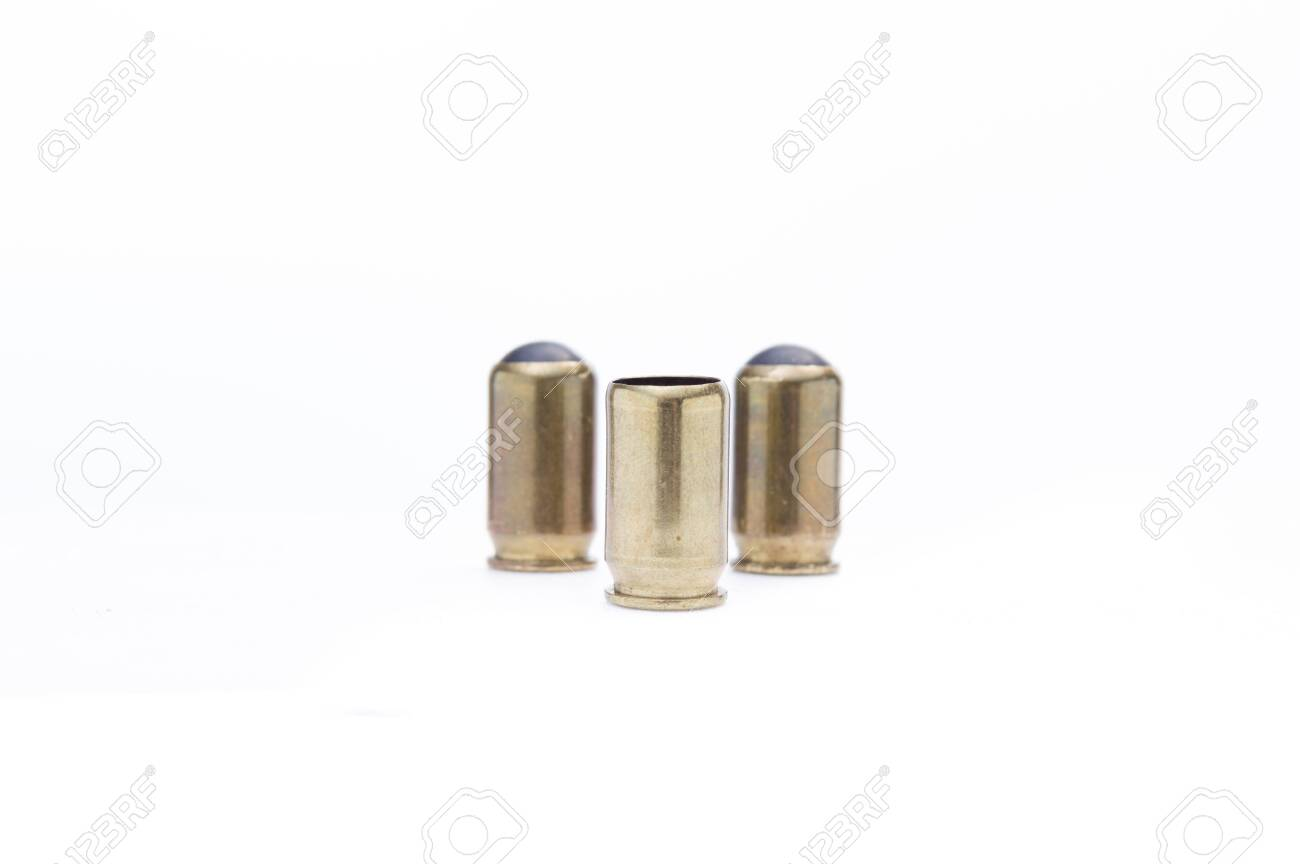 Ammunition for traumatic weapons  Three bullets with a rubber
