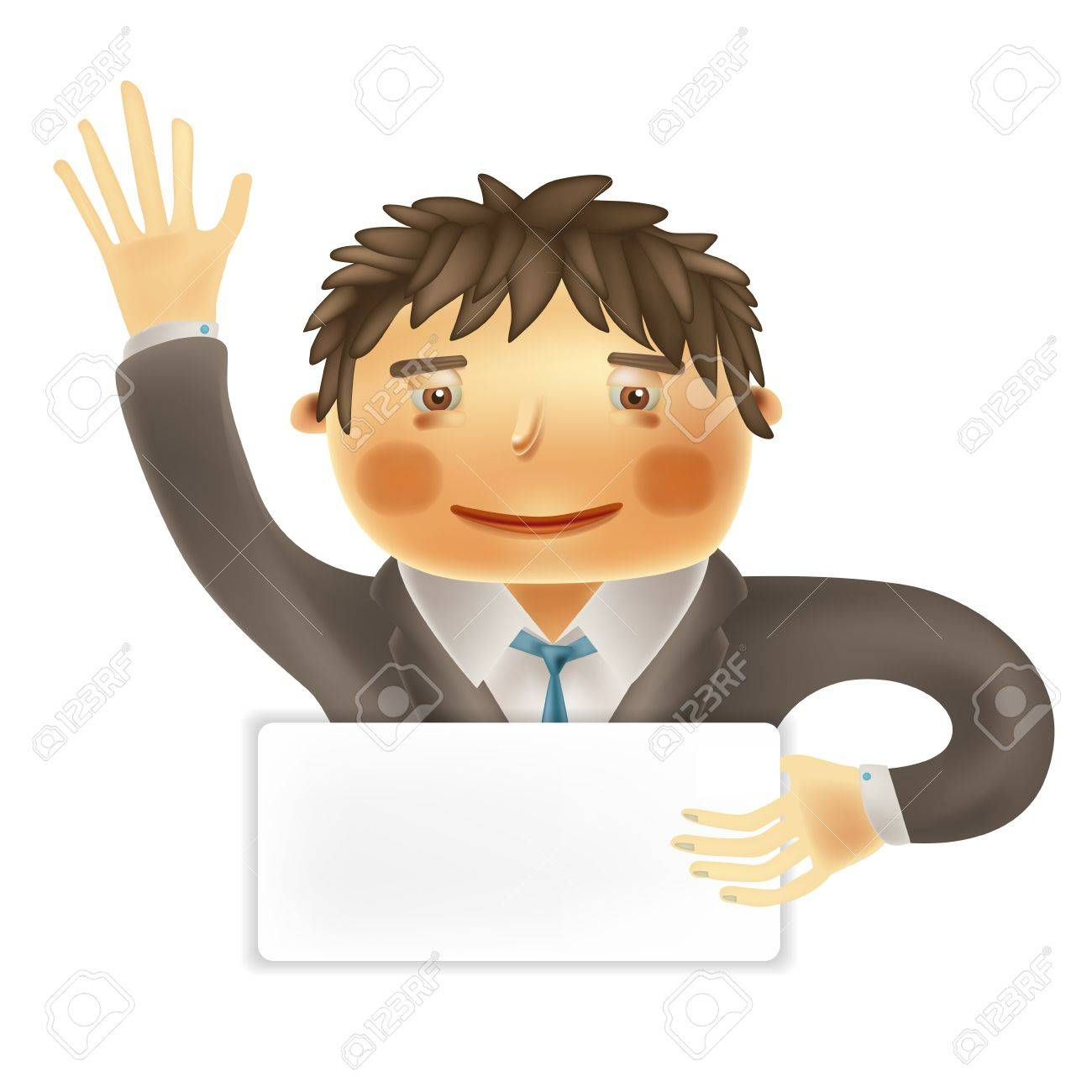 Funny cartoon office worker for use in presentations, etc Stock Vector - 16711668