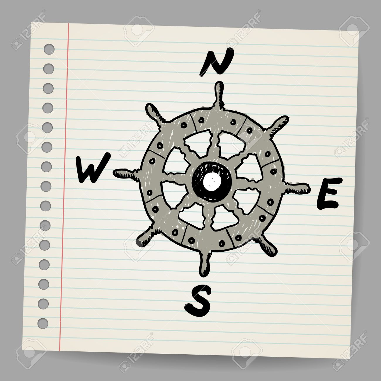 Doodle steering control-compass sketch concept Stock Vector - 16989487