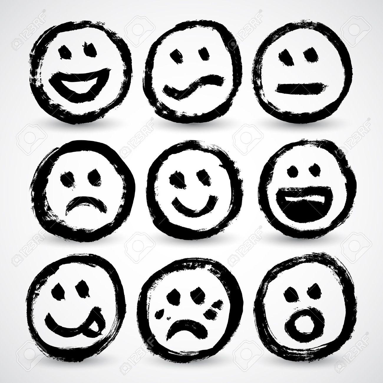 An icon set of grunge cartoon smiley faces Stock Vector - 17031752
