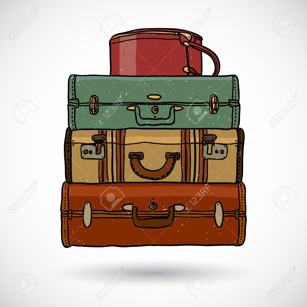 Suitcases In Doodle Style