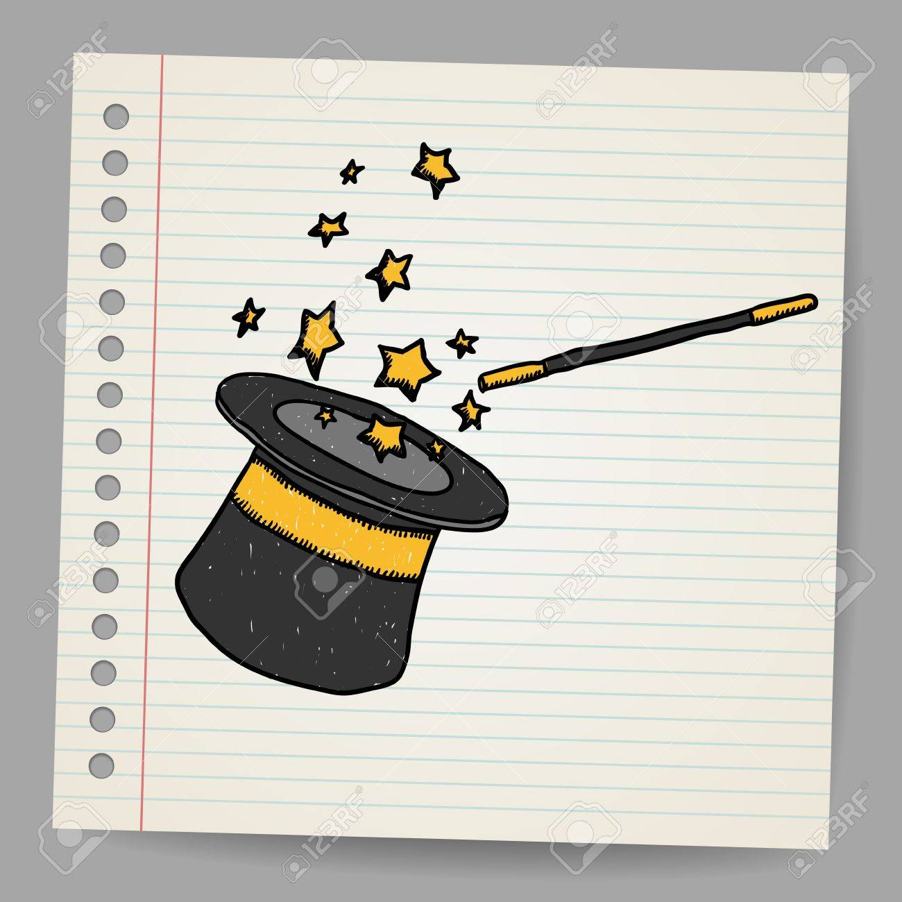 Magic hat with magic wand  Vector sketch Stock Vector - 18216837