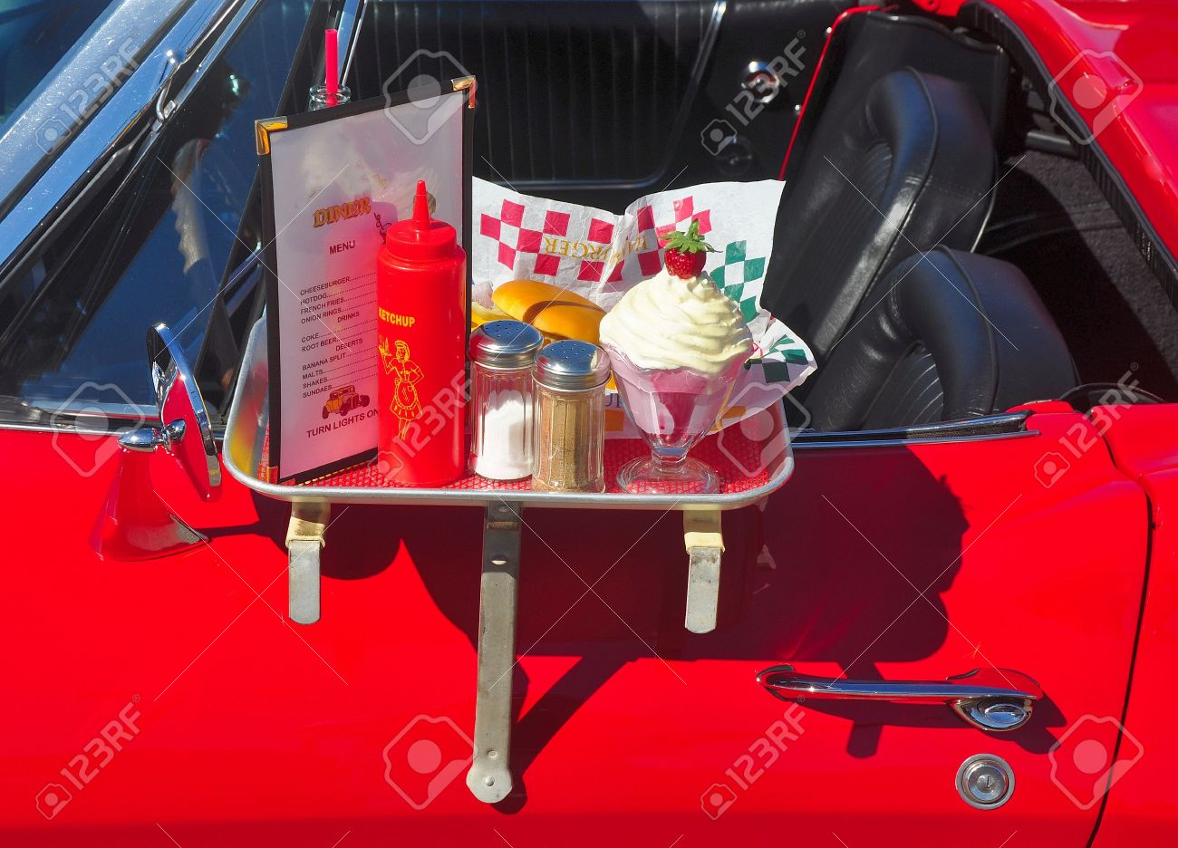 Drive In Diner Tray On Red Car Stock P O 7689270