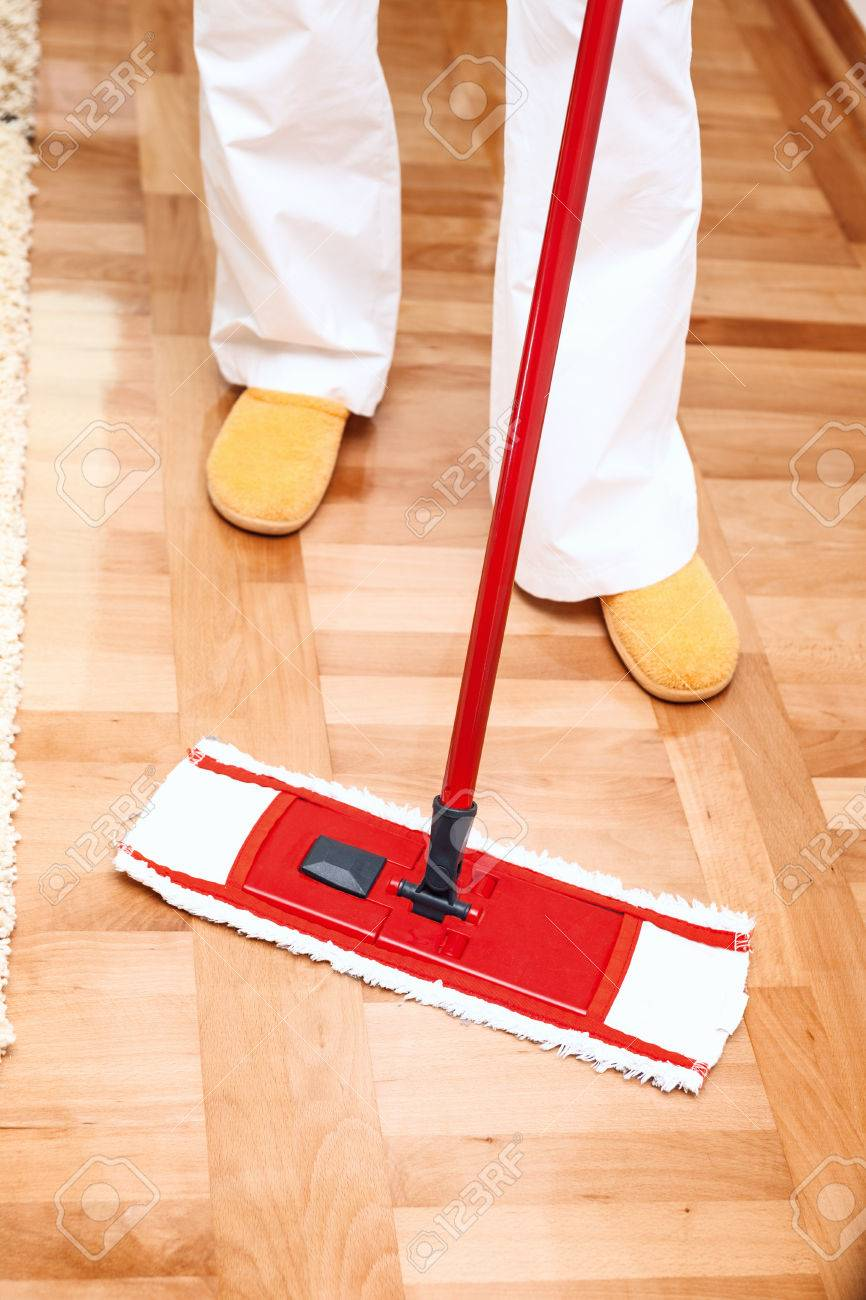 House Cleaning Mopping Hardwood Floor Stock Photo Picture And