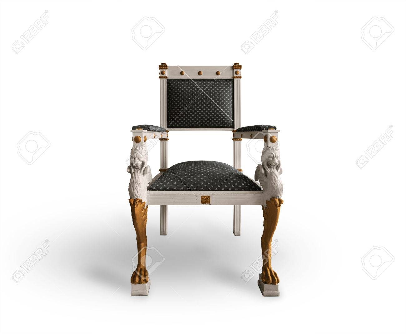 Old Throne Chair On White Background Stock Photo   51916996