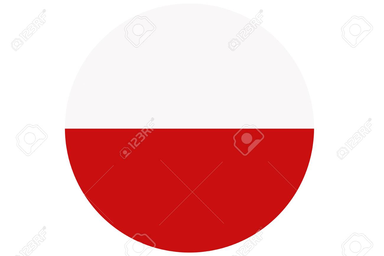 poland flag poland national flag illustration symbol circle stock
