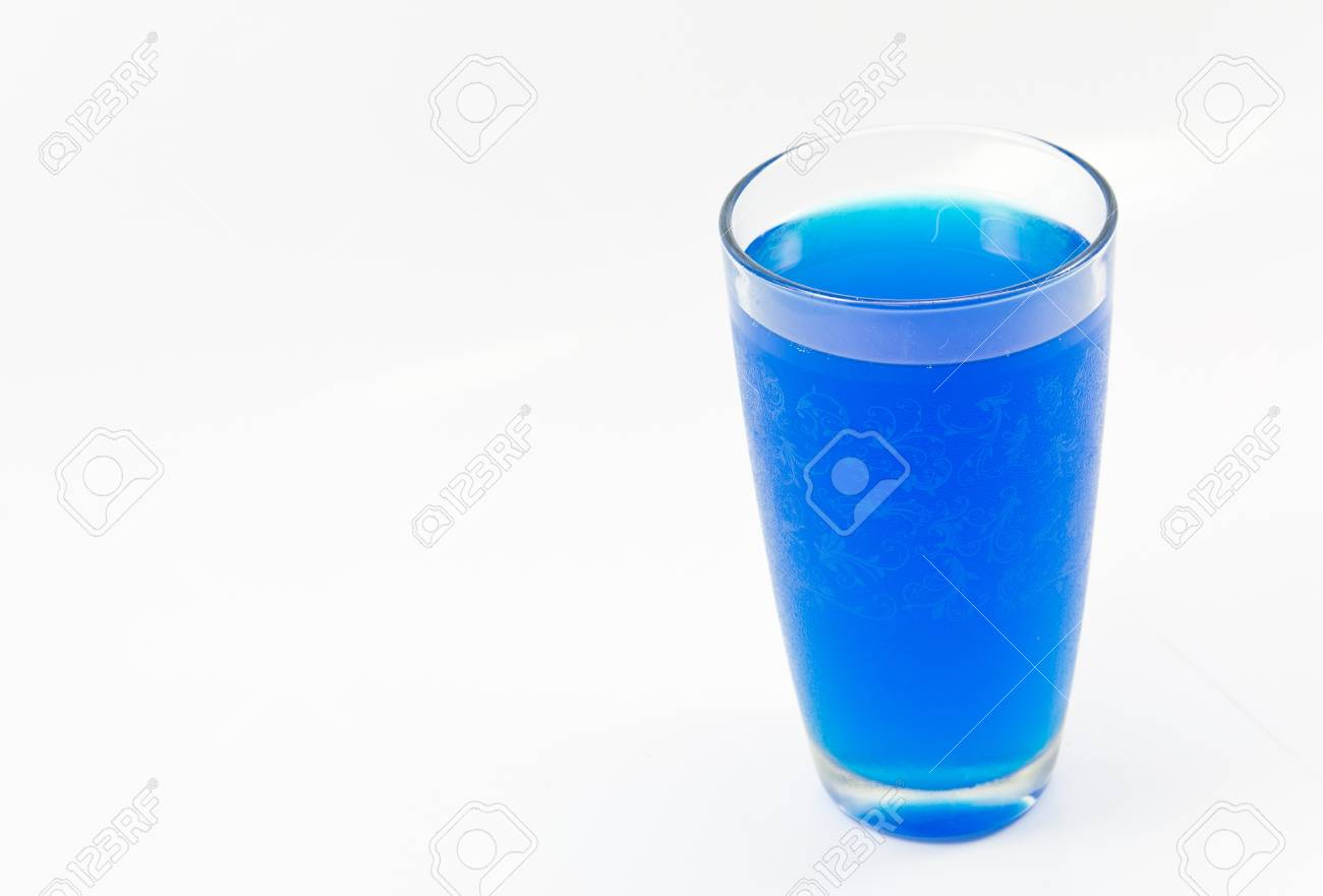 71c2f4b6f54 Glass and blue water on a white background. Stock Photo - 18299096