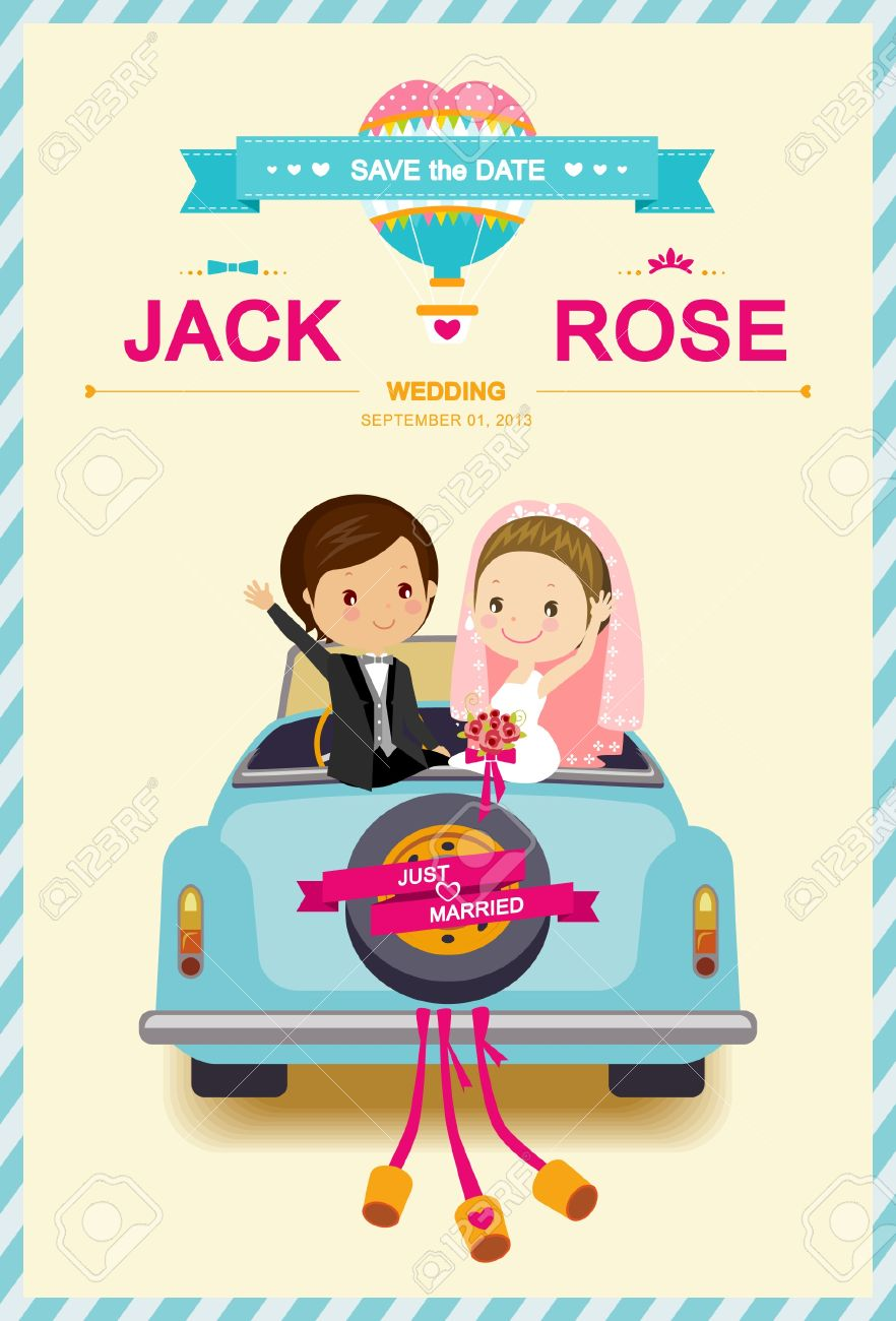 Cute Bride And Groom In Wedding Car Wedding Invitation Template - Wedding invitation templates: wedding invitation downloadable templates