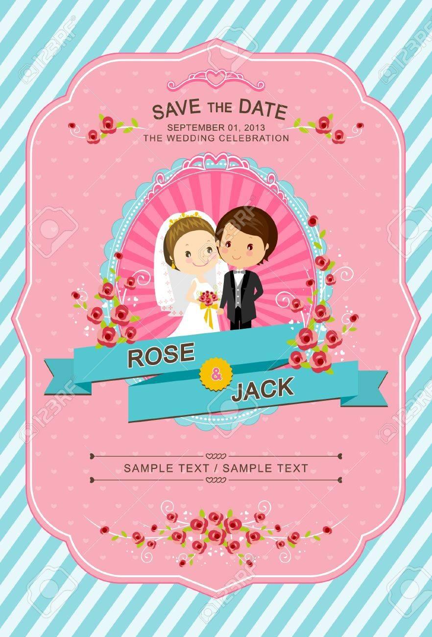 Cute Bride And Groom Wedding Invitation Template Royalty Free ...