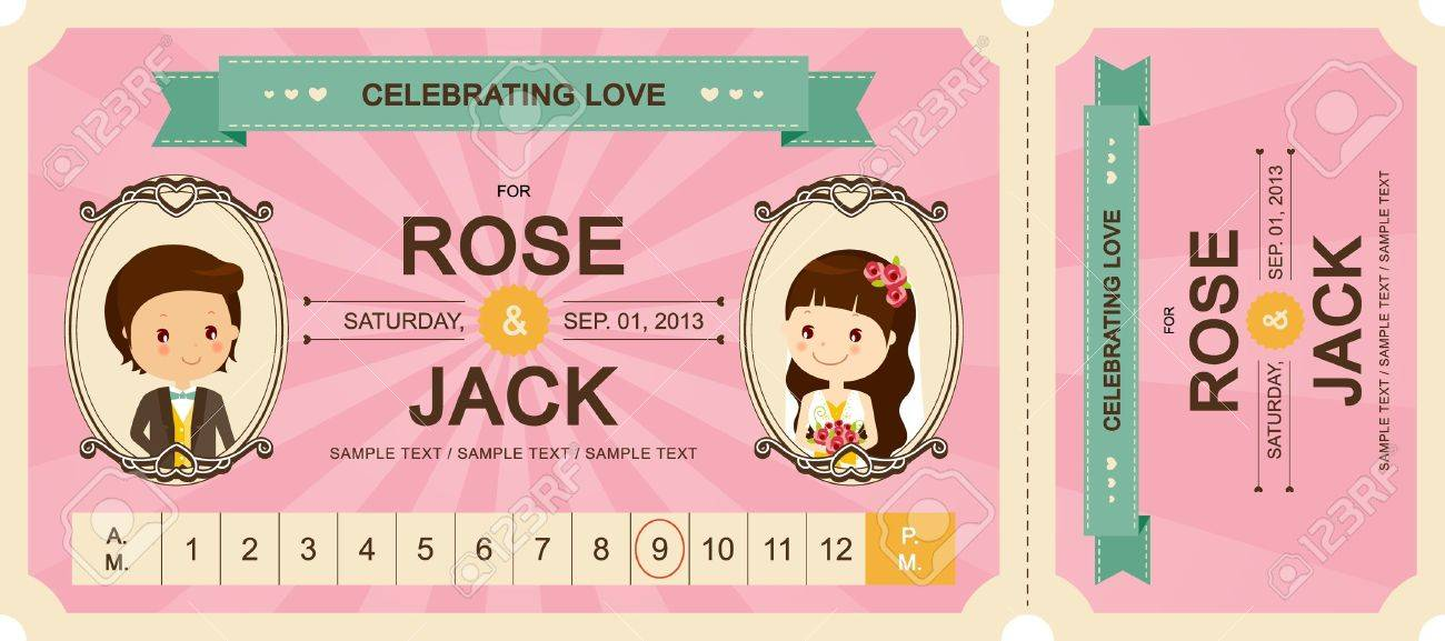 Cute Ticket Wedding Invitation Card Template Vector Illustration