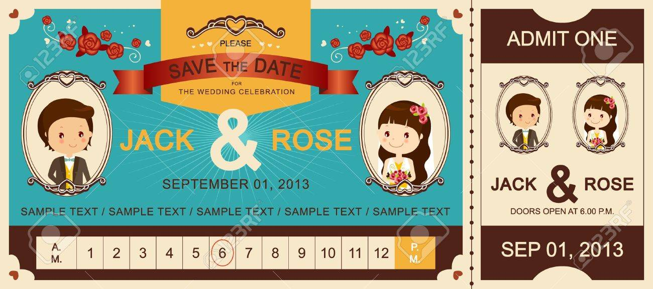 Just Married   Vintage Wedding Ticket Invitation Stock Vector - 21429865