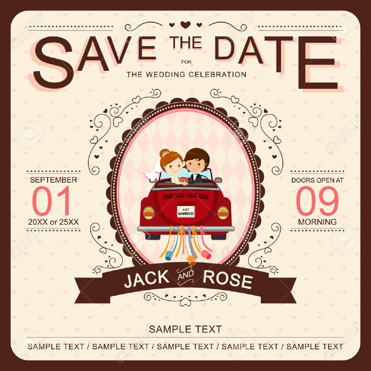Cute Bride And Groom In Red Car Wedding Invitation Template Royalty ...