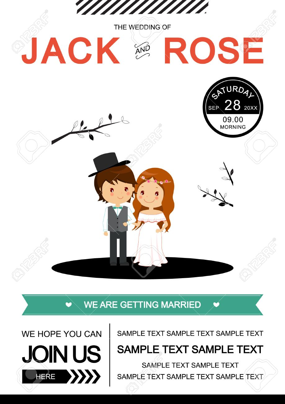 Cute black and white wedding invitation card vectorillustrator cute black and white wedding invitation card vectorillustrator stock vector 32448518 stopboris Images