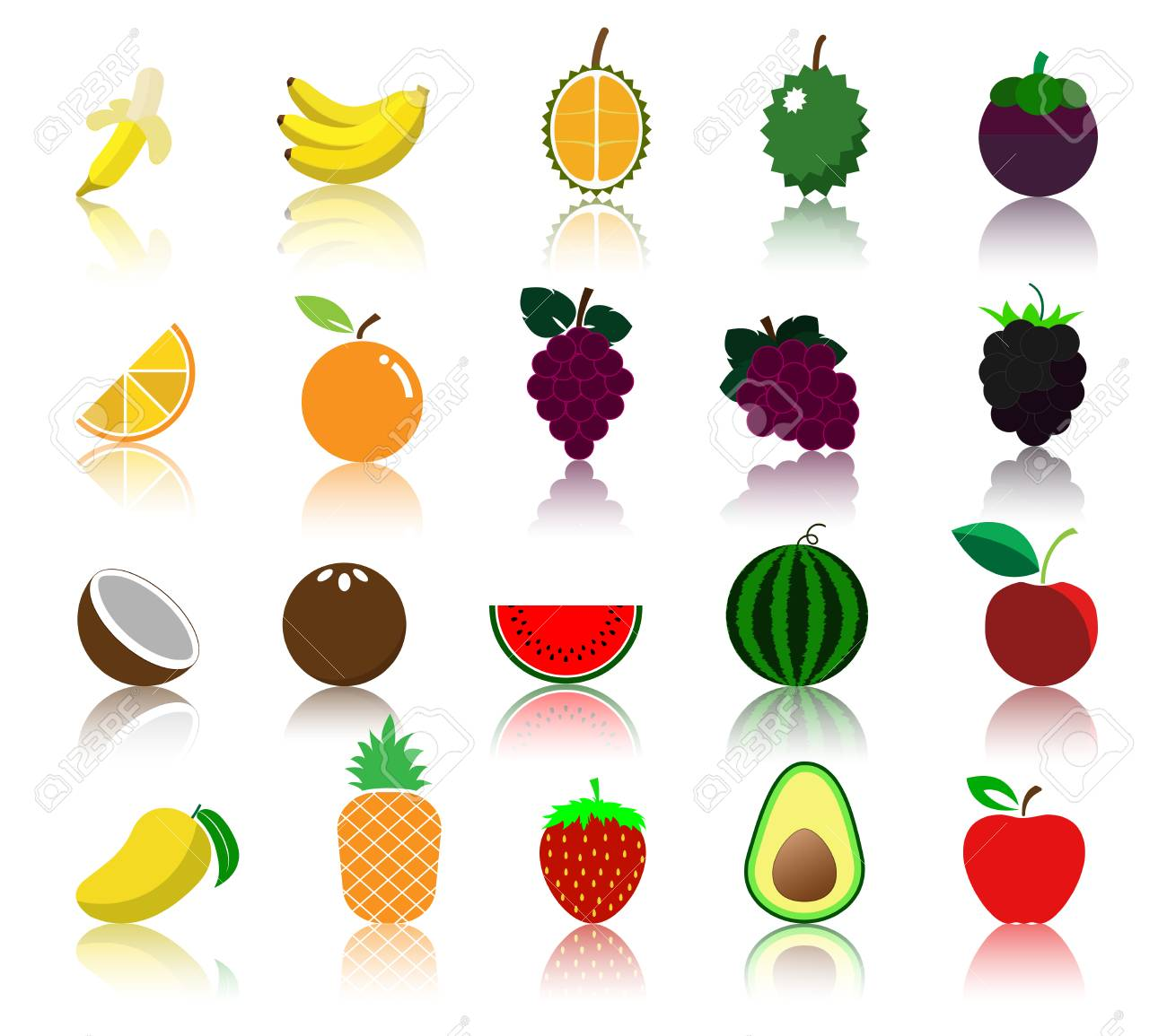 colorful variety fruit icon royalty free cliparts vectors and rh 123rf com fruit basket vectors fruit vectors free