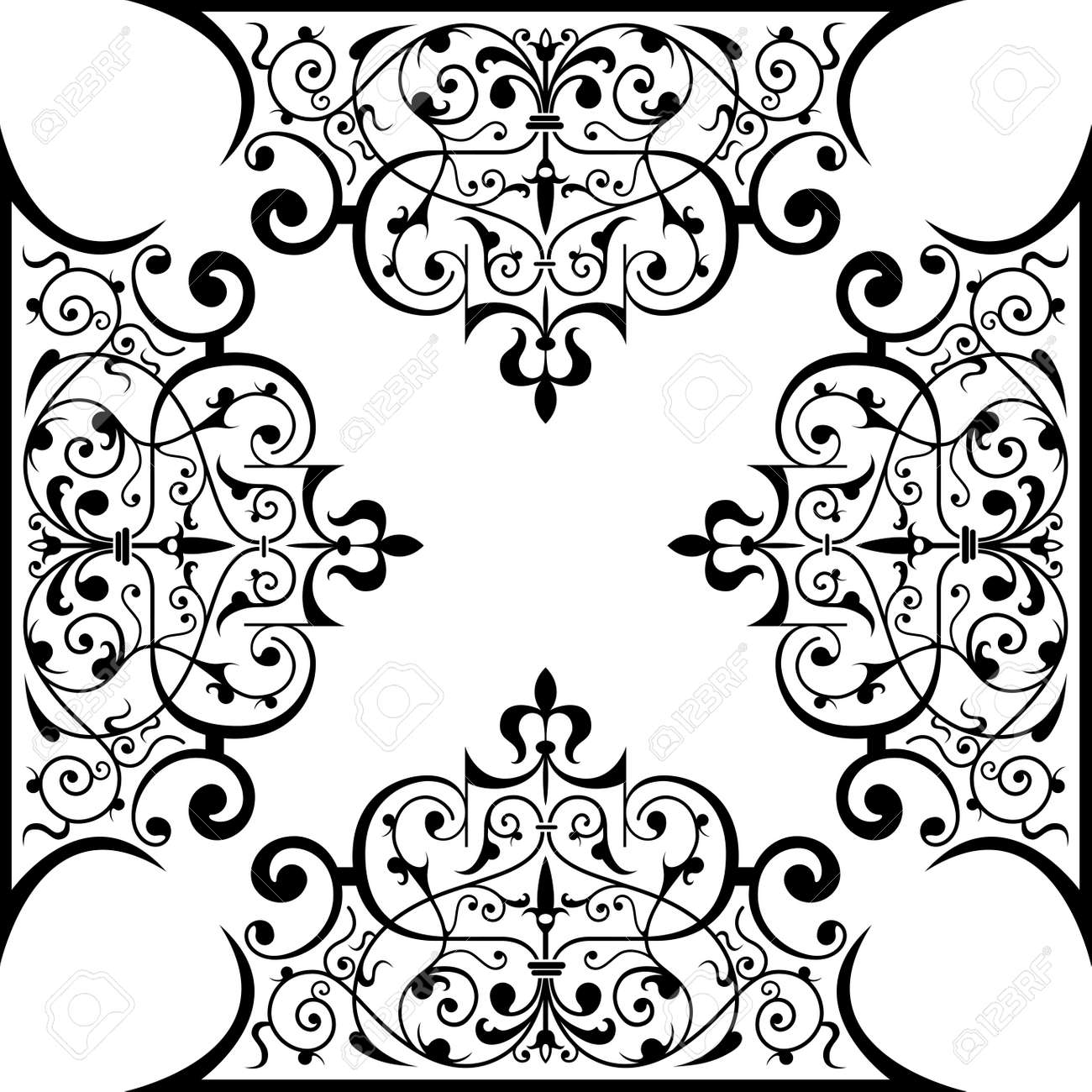 Ancient decorative ornament vector illustration isolated on white Stock Illustration - 1290699