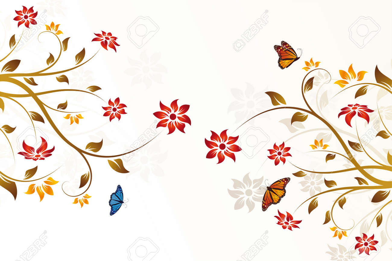 Abstract vector flower background in brown color Stock Vector - 4601476
