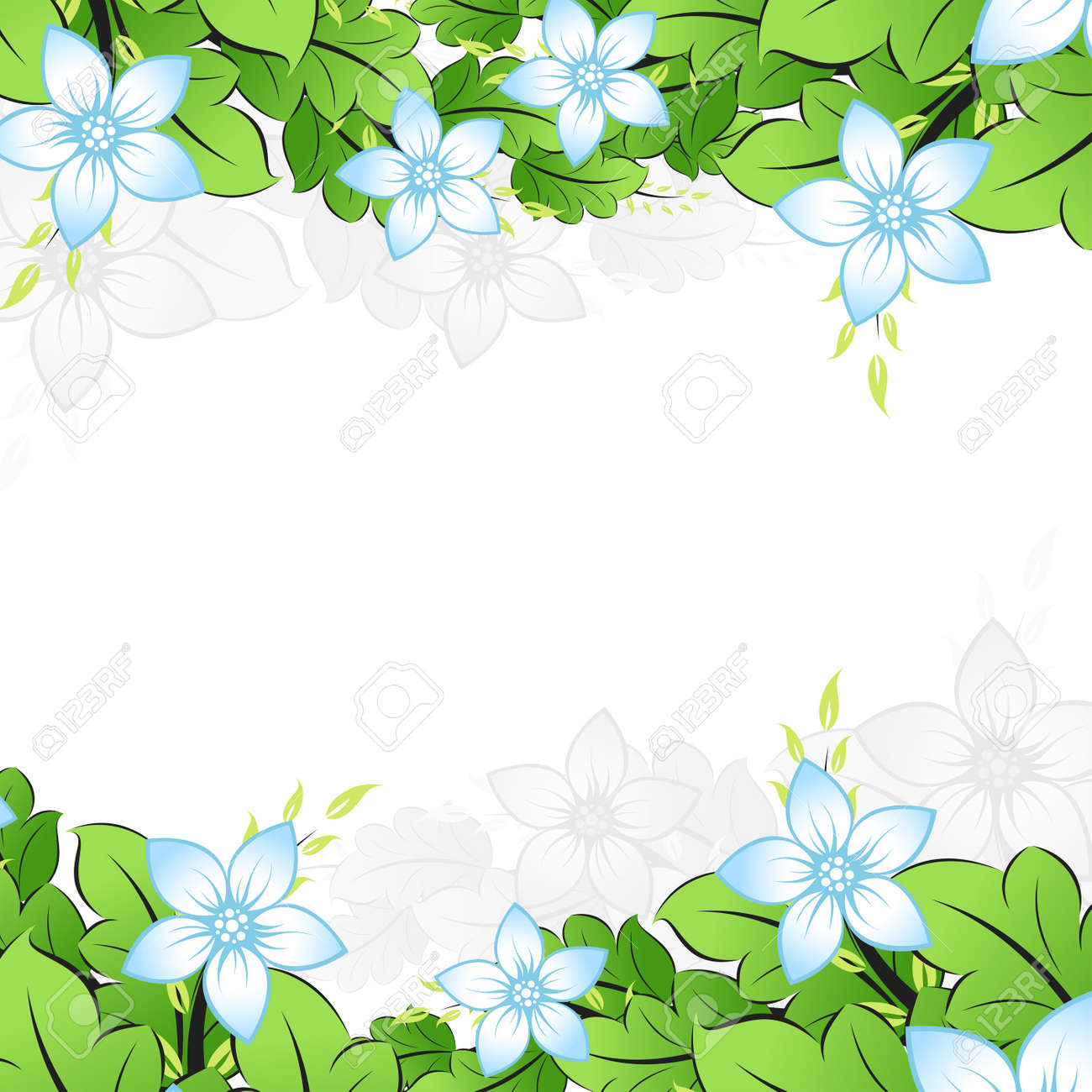 Abstract Flower frame with leafs. Vector illustration Stock Vector - 4857756