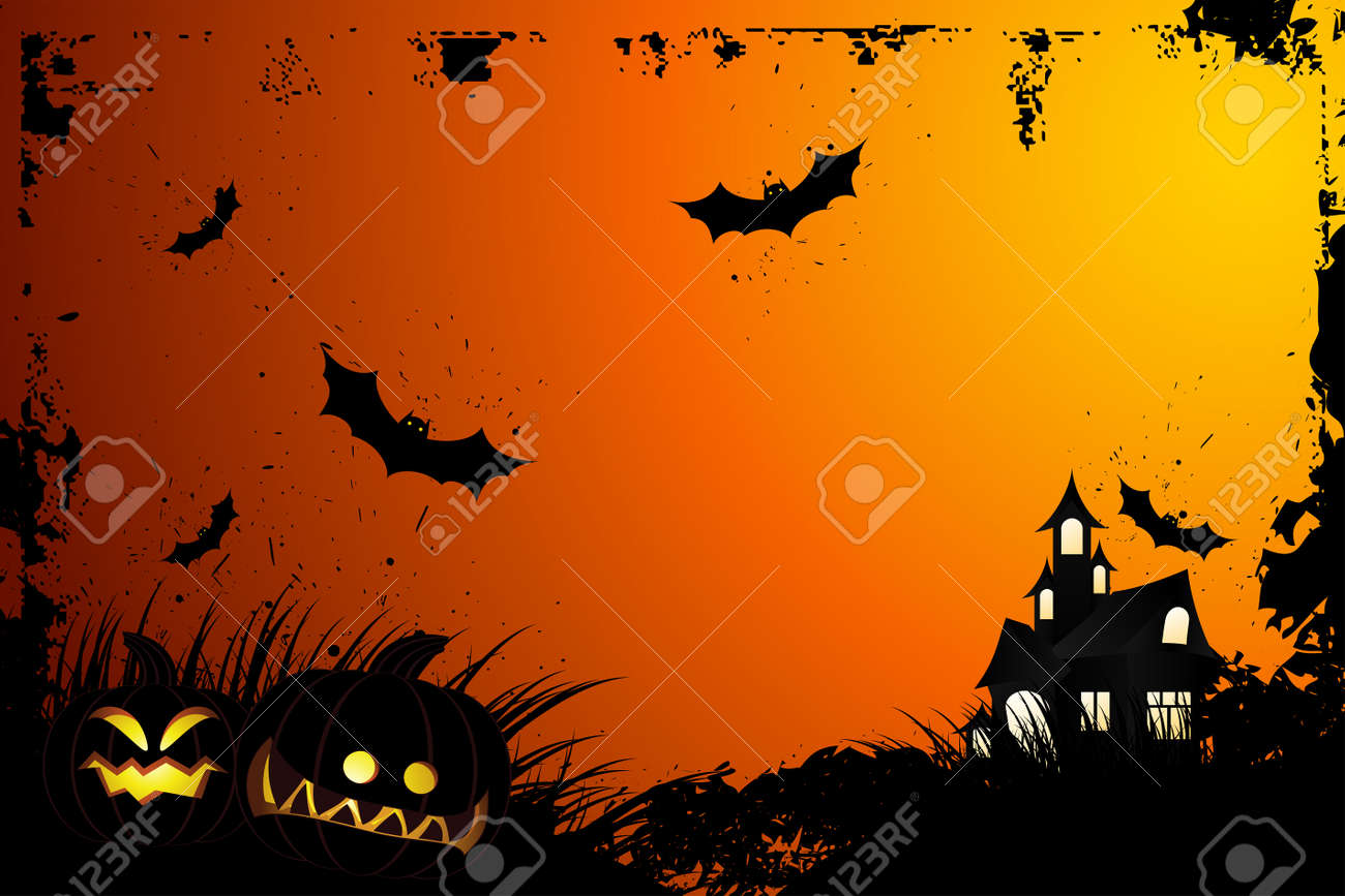 Halloween grunge background with grass bat and hunting house Stock Vector - 5432213