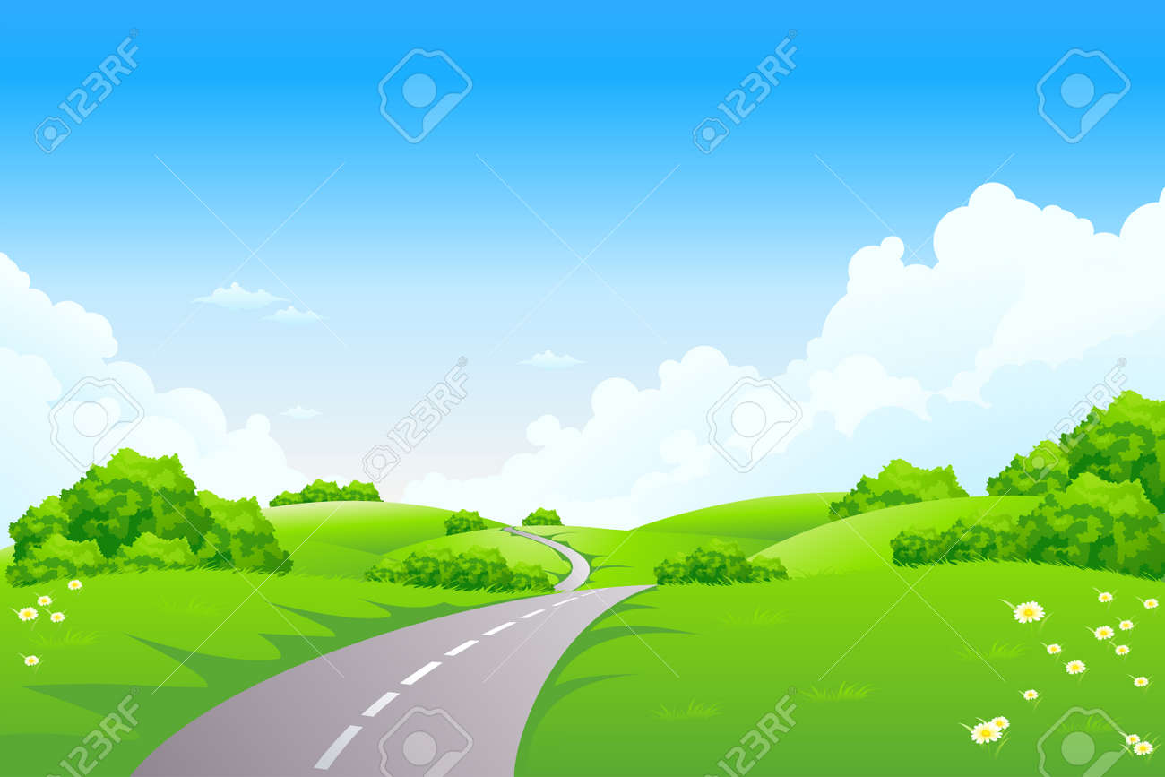 Green landscape with road trees and clouds Stock Vector - 6406058