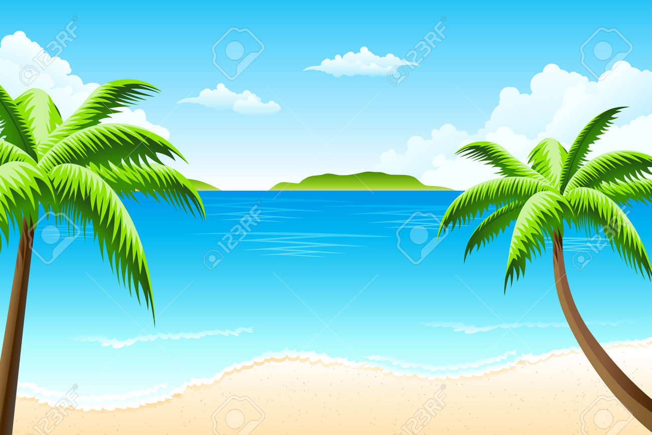 Tropical landscape with palm tree clouds and island Stock Vector - 6430160