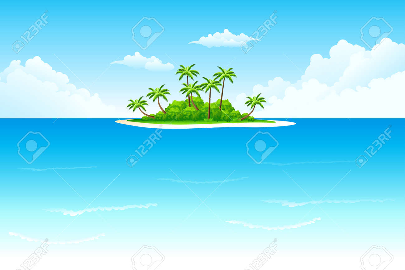 Tropical landscape with palm tree clouds and island Stock Vector - 6430158