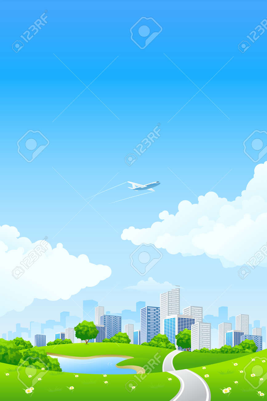 Green landscape with tree lake road city and clouds Stock Vector - 6766971